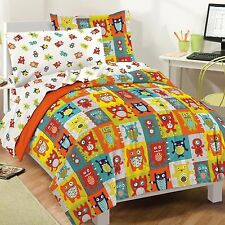 NEW Kids Comforter Set Bedding Twin Full Bed Sheets Reversible Monsters Colorful