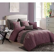 NEW Queen King Bed Burgundy Gray Floral Embroidered Pintuck 7 pc Comforter Set