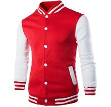 Varsity Letterman Jacket Sports College Uniform Casual Stylish Blazer New Red