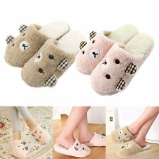 Slippers Women Winter Animal Soft Warm Bear Plush Antiskid Men Indoor Home Cute