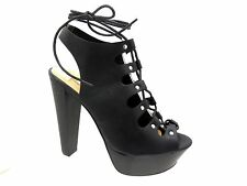 Women Betsey-45 Lace Up Peep Toe Chunky High Heel Shoes Platform Sandals