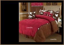 Embroidery Rustic Western Red Cowhide Design Texas Star Comforter Suede Set 7 Pc