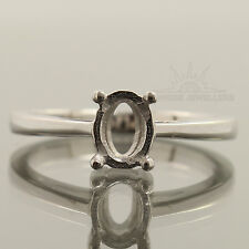 5x7 mm Oval 925 Sterling Silver Jewelry Engagement Anniversary Semi Mount Ring