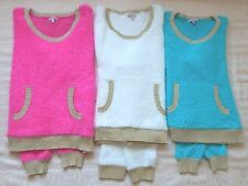 NWT Juicy Couture Fuzzy Pullover Sweater Gold Trim PINK, IVORY, TURQUOISE S-M-XL