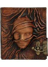 Scarfed Woman On A Brown Handmade Refillable Leather Journal / Diary / Lock
