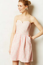 Anthropologie Pasteque Dress Size 8P Jacquard Pink & Silver By Moulinette Soeurs