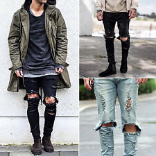 Mens Destroyed Ripped Distressed Skinny Slim Fit Denim Pants Wash Jeans Trousers