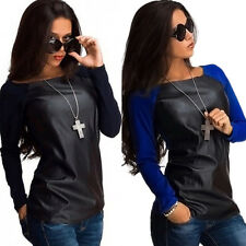 Fashion Womens PU Leather Patchwork Long Sleeve Casual Blouse Loose Tops T Shirt