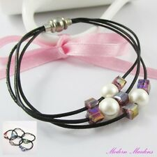 Pearl & Cube Bead Leather Cord Bracelet Magnetic Clasp 19cm Select Colour
