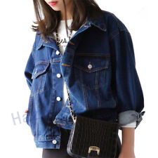 Womens Denim Loose Fashion Jacket Korean Lapel Oversize Jean Jacket Coat