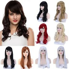 Fashion Women Natural Long Straight Curly Full Wig Synthetic Hair Daily Party CV