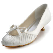 EP2057 Ivory Wedding Bridal Shoes Low Heel Round Toe Satin Ruched Bow Pumps US10