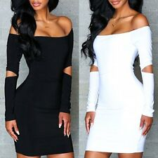 Charming Women Sexy Bandage Off Shoulder Slim  Bodycon Evening Party  Mini Dress