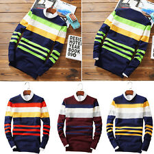 Fashion Men's Casual Warm Pullover Jumper Sweater Tops Striped Knitted Cardigan