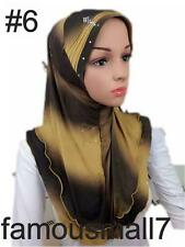 Pull On Ready Made One Piece Knitted Glitter Hijab Long Shawl Scarf Pashmina