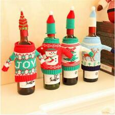 Christmas Knitted Sweater+Lid Hat Wine Bottle Cover Wrap Bag Xmas Decoration FW