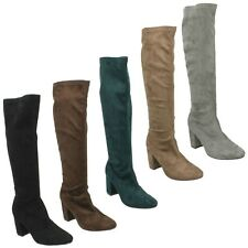 LADIES ANNE MICHELLE LONG KNEE HIGH MICROFIBRE BLACK GREY BROWN BOOTS SIZE 3 - 8