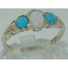 Ladies Solid Sterling Silver Natural Opal & Turquoise Victorian Trilogy Ring