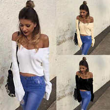Sexy Women's V-Neck Loose Casual Long Sleeve Knitted Sweater Blouse Crop Tops