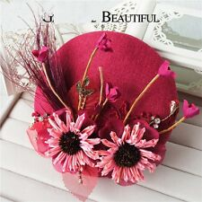 Ladies Fascinator Spring racing Wedding Cotton Linen Red Hat Clip on