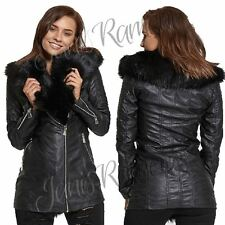 New Womens Black Faux Fur Collar PU Leather Look Zip Up Biker Jacket Trench Coat