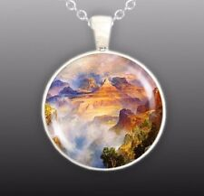 "Misty Grand Canyon Zoroaster Peak Thomas Moran Art Painting 1"" Pendant Necklace"