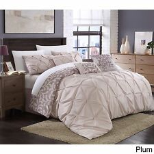 NEW Queen King Bed Plum Purple Pinch Pleat Pintuck Floral 7 pc Comforter Set NWT