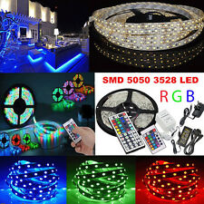 5M 10M SMD 5050 3528 RGB 300 Leds LED Strip Light DC 12V Power Adapter IR Remote