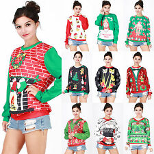Fashion Christmas Xmas Women Pullover Jumper Sweatshirt Hoodies Tops Tee Shirts