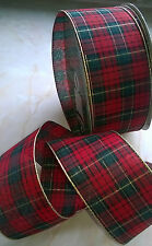TARTAN Red and Gold Wired Edge Ribbon Christmas 6.3 cm 2.5
