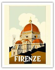 Florence Italy Santa Duomo Firenze Vintage World Travel Art Poster Print Giclée