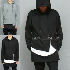 Men's Fashion Unbalanced Hem Zipper Styling Hood Sweatshirt, GENTLERSHOP