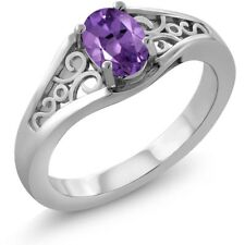 0.35 Ct Oval Purple Amethyst 925 Sterling Silver Ring