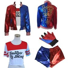 4PCS Harley Quinn Suicide Squad Complete Cosplay Halloween Costume Fancy Dress
