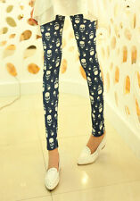 Women Funny Comic Skull Bone Print Punk Gothic Emo Leggings Tight Pants