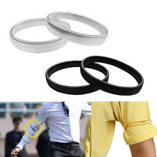 2pc Shirt Sleeve Holders Arm Bands Elasticated Metal Armband For Men Ladies Top