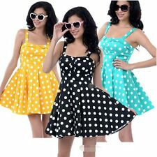 Sleeveless Casual Women Ladies Square Polka Dot Neck Evening Party Sundress