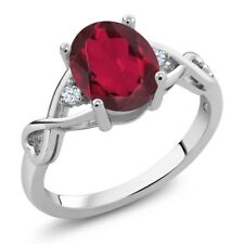 1.89 Ct Oval Ruby Red Mystic Quartz 18K White Gold Ring