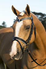 NEW Black/White SNAFFLE HORSE BRIDLE With Reins BLING BROWBAND Cob or Full Size