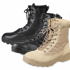 Men Army Plain Toe Size Zip Shoes Waterpoof Outdoor Tactical Combat Work Boots