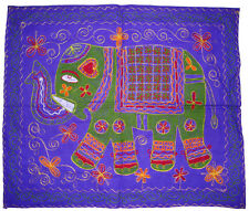 HAND EMBROIDER 100% COTTON ELEPHANT WALL TAPESTRY TABLE RUNNER THROW INDIAN ART