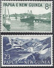 Papua New Guinea 1963 8d WATERFRONT, 2/3 AIRCRAFT (2) Unhinged Mint SG 47-8