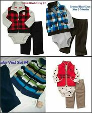 * NWT NEW BOYS 3PC CARTERS VEST WINTER OUTFIT SET 3M 6M