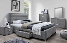 Light Grey Queen size Fabric Upholstered Bedroom Suite with Lots of Storage 8002