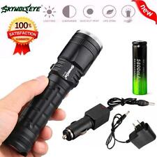 CREEE XM-L T6 LED Rechargeable Flashlight Torch Lamp AC+18650 Battery+Charger