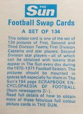 Football Swap Cards 1970/71 Season from The Sun  Lots of Choice From 1 to 134
