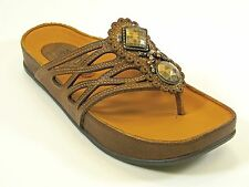 KALSO EARTH RHYME ALMOND LEATHER W/ BRASS & BEADS WOM. SIZE  5   MSRP $129