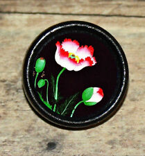 Asian RED POPPY flower floral Altered Art Tie Tack or Ring or Brooch pin
