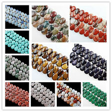 18x13x6mm Natural Mixed Gemstone Teardrop Loose Bead 8 inch LX-361