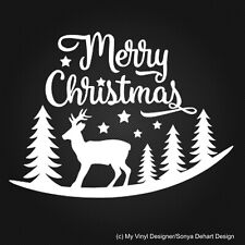 Merry Christmas Reindeer stars vinyl sticker decal shop home wall door window